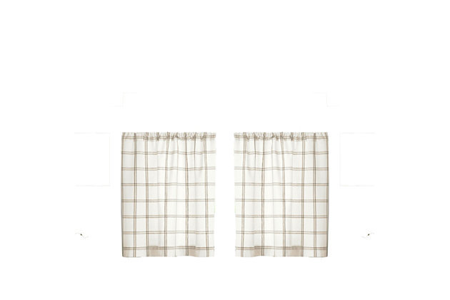 "Elrene Home Fashions Farmhouse Living Double Windowpane Plaid 30""x36"" Tier Set, White/Linen, large"
