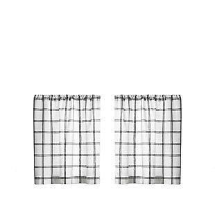 "Elrene Home Fashions Farmhouse Living Double Windowpane Plaid 30""x24"" Tier Set, White/Black, rollover"