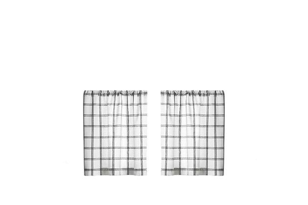 "Elrene Home Fashions Farmhouse Living Double Windowpane Plaid 30""x24"" Tier Set, White/Black, large"