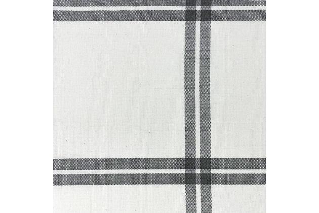 "Elrene Home Fashions Farmhouse Living Double Windowpane Plaid Room Darkening 52""x95"" Window Curtain Panel, White/Gray, large"