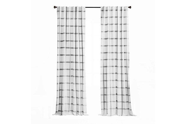 "Elrene Home Fashions Farmhouse Living Double Windowpane Plaid Room Darkening 52""x84"" Window Curtain Panel, White/Black, large"