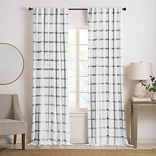 "Elrene Home Fashions Farmhouse Living Double Windowpane Plaid Room Darkening 52""x84"" Window Curtain Panel, White/Black, large"