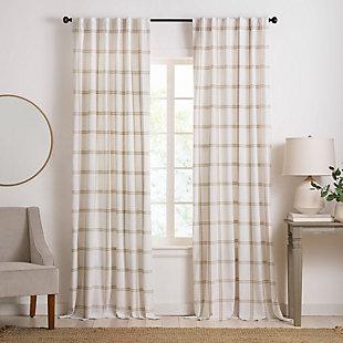 "Elrene Home Fashions Farmhouse Living Double Windowpane Plaid Room Darkening 52""x84"" Window Curtain Panel, White/Linen, large"
