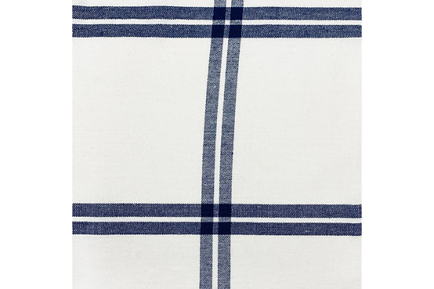 "Elrene Home Fashions Farmhouse Living Double Windowpane Plaid Room Darkening 52""x84"" Window Curtain Panel, White/Navy, large"