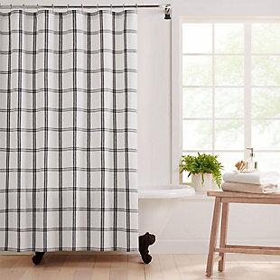 "Farmhouse Living Farmhouse Living Double Windowpane Plaid Fabric Shower Curtain, 72""x72"", White/Black, White/Black, rollover"