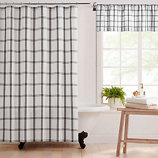 "Farmhouse Living Farmhouse Living Double Windowpane Plaid Fabric Shower Curtain, 72""x72"", White/Black, White/Black, large"