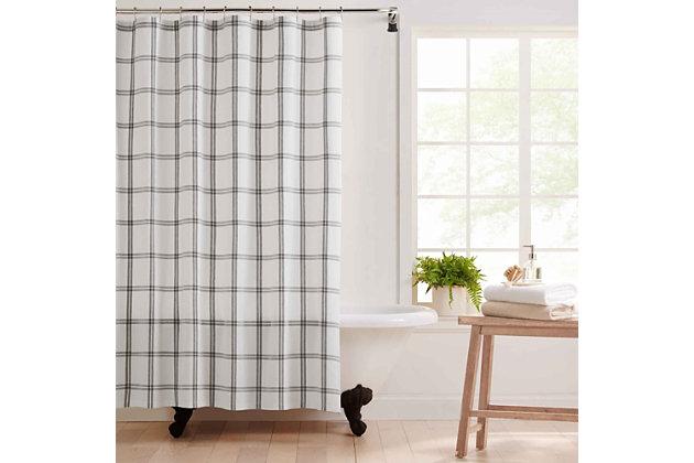 "Farmhouse Living Farmhouse Living Double Windowpane Plaid Fabric Shower Curtain, 72""x72"", White/Gray, White/Gray, large"