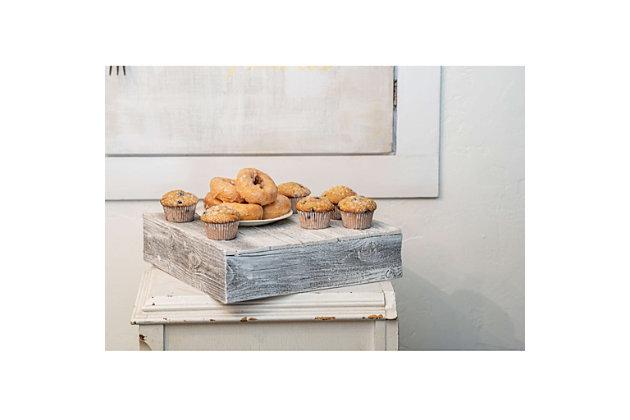 """Farmhouse Farmhouse 15"""" White Wash Wooden Dessert Stand, White Wash, large"""