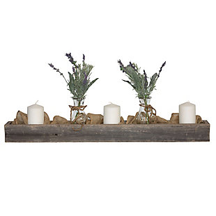 "Rustic Rustic Farmhouse 35.5"" Weathered Gray Centerpiece Wooden Box, Weathered Gray, large"