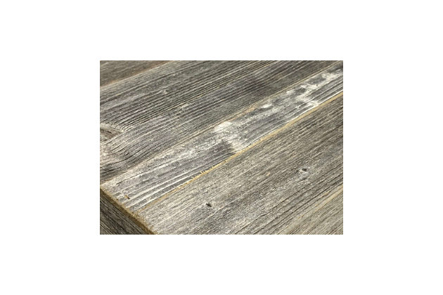 """Rustic Rustic Farmhouse 35.5"""" Weathered Gray Centerpiece Wooden Box, Weathered Gray, large"""