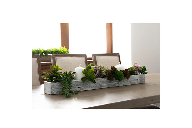 "Rustic Rustic Farmhouse 35.5"" White Wash Centerpiece Wooden Box, White Wash, large"