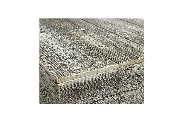"Rustic Rustic Farmhouse 35.5"" White Wash Centerpiece Wooden Box, White Wash, large"