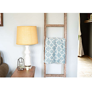 Farmhouse Farmhouse 6' Turquoise Decorative Blanket 2x4 Ladder, Turquoise, rollover