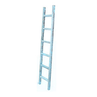 Farmhouse Farmhouse 6' Turquoise Decorative Blanket 2x4 Ladder, Turquoise, large