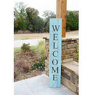 Rustic Rustic Farmhouse 5' Robin Egg Blue Welcome Sign Front Porch, Robins Egg Blue, large