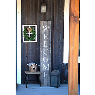 Rustic Rustic Farmhouse 5' Weathered Gray Welcome Sign Front Porch, Weathered Gray, rollover