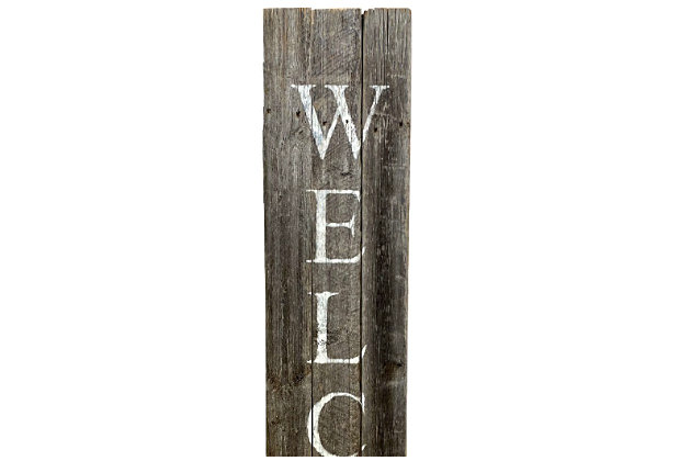 Rustic Rustic Farmhouse 5' Weathered Gray Welcome Sign Front Porch, Weathered Gray, large