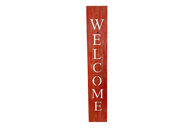 Rustic Rustic Farmhouse 5' Rustic Red Welcome Sign Front Porch, Rustic Red, large