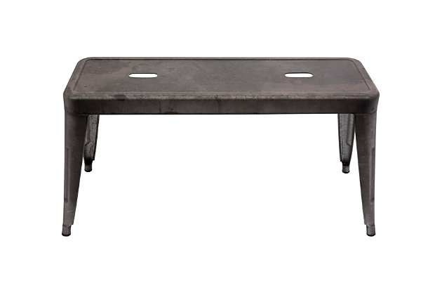 Creative Co-Op Rectangle Galvanized Metal Bench, , large