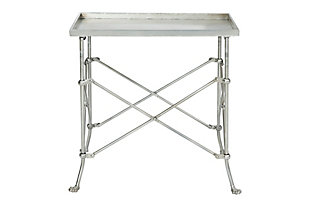 Creative Co-Op Rectangle Tray-Style Metal Accent Table, Silver, large