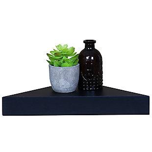 Home Basics Wood Corner Floating Shelf, Black, , large