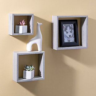 Home Basics 3 Piece MDF Floating Wall Cubes, Gray, , rollover