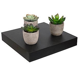 Home Basics Short Rectangle Floating Wood Shelf, Black, , rollover