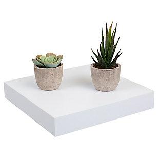 Home Basics Short Rectangle Floating Wood Shelf, White, , large