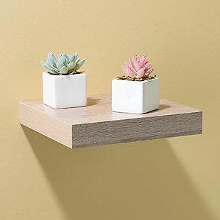 Home Basics Short Rectangle Floating Wood Shelf, Oak, , rollover
