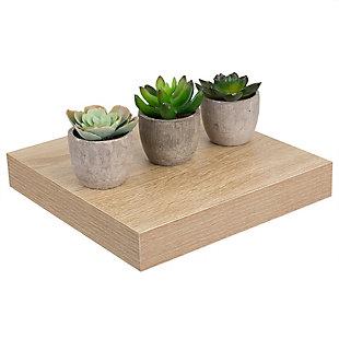 Home Basics Short Rectangle Floating Wood Shelf, Oak, , large