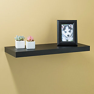 Home Basics Long Rectangle Floating Wood Shelf, Black, , rollover
