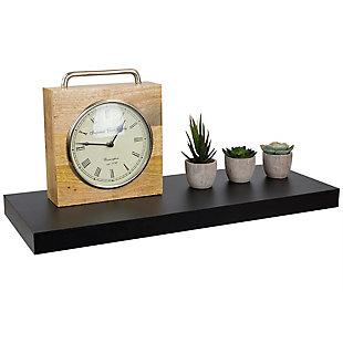 Home Basics Long Rectangle Floating Wood Shelf, Black, , large