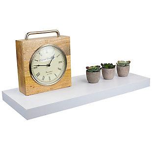 Home Basics Long Rectangle Floating Wood Shelf, White, , large