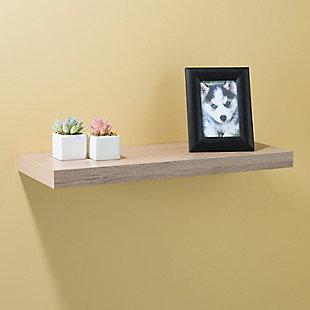 Home Basics Rectangle Floating Wood Shelf, Oak, , rollover