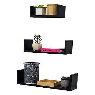 Home Basics Floating Wood Shelf, (Set of 3), Black, , large