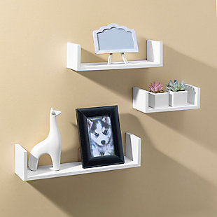 Home Basics Floating Wood Shelf, (Set of 3), White, , rollover