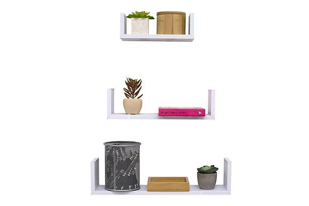 Home Basics Floating Wood Shelf, (Set of 3), White, , large