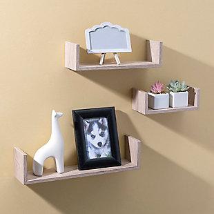 Home Basics Floating Wood Shelf, (Set of 3), Oak, , rollover