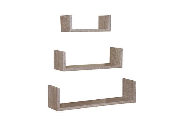 Home Basics Floating Wood Shelf, (Set of 3), Oak, , large