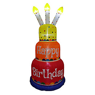 6-Ft. Tall Happy Birthday 3-Tier Cake with 3 Faux Candles Blow Up Inflatable, , large