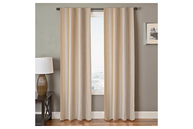 "Morena Stripe Cream 84"" Rod Pocket Panel, Cream, large"