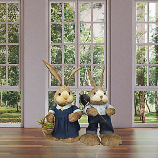 34-In. Mr. and Mrs. Sisal Bunny Pair Figurine, , rollover