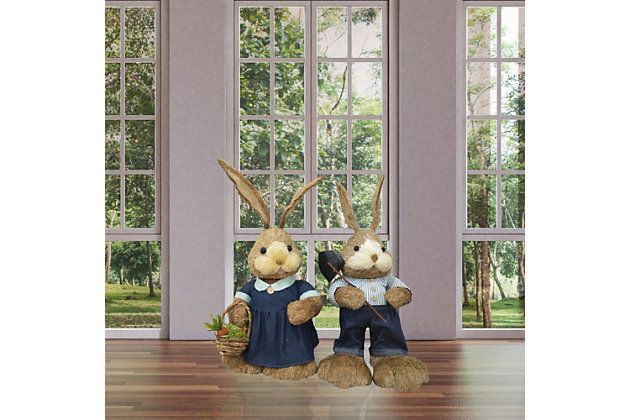 34-In. Mr. and Mrs. Sisal Bunny Pair Figurine, , large