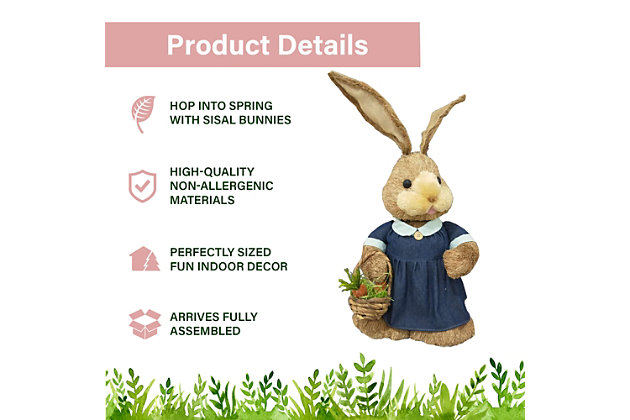 34-In. Mrs. Sisal Bunny with Carrot Basket Figurine, , large