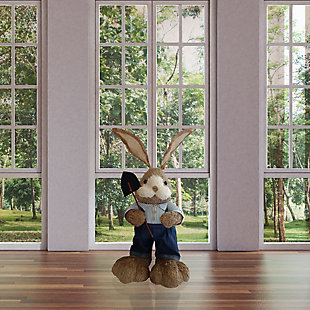 34-In. Mr. Sisal Bunny with Garden Shovel Figurine, , rollover