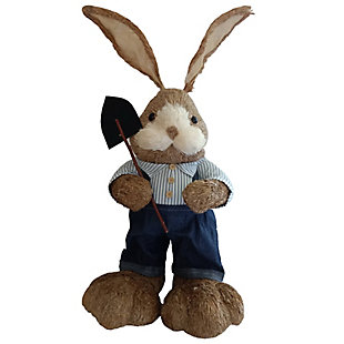 34-In. Mr. Sisal Bunny with Garden Shovel Figurine, , large