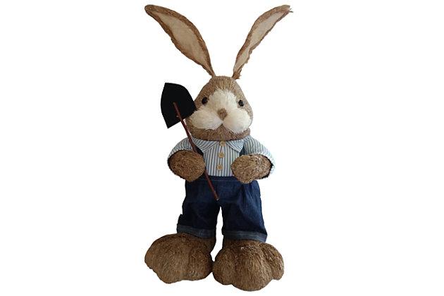 34-In. Mr. Sisal Bunny with Garden Shovel Figurine, , large