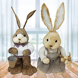 15-In. Mr. and Mrs. Sisal Bunny Pair Figurine, , rollover