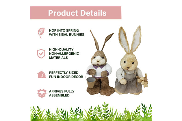 15-In. Mr. and Mrs. Sisal Bunny Pair Figurine, , large