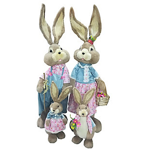 4-Piece Sisal Bunny Family Figurine, , large